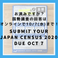 Person with Blue bag and Blue armband is at my door… who? It's 2020 Census! 【国勢調査 】【10/7(水)まで】もう済んだ?オンラインで簡単回答!